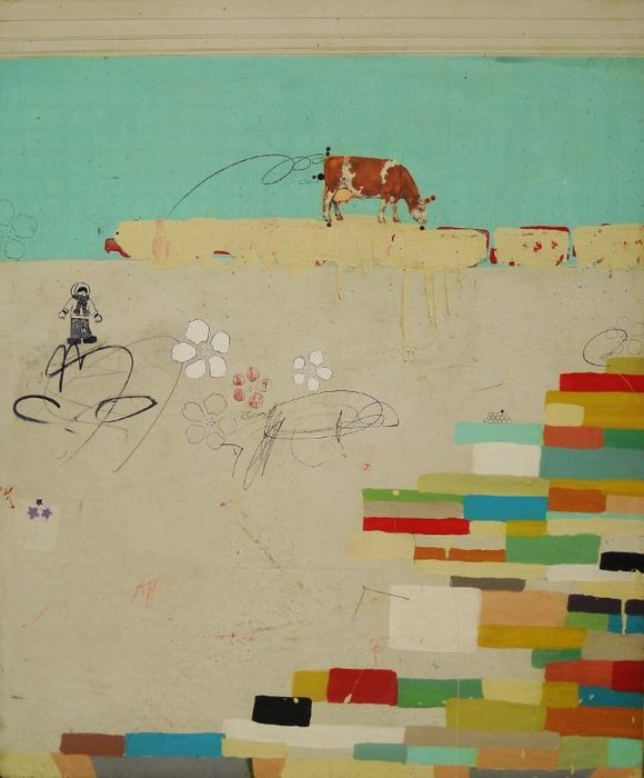 Grazing-30x36-2011-mixed-on-panel