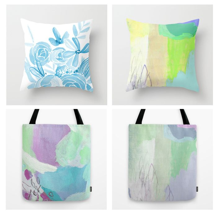Society6 pillow and tote